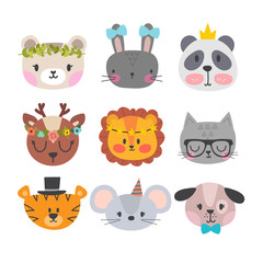 Cute animals with funny accessories. Set of hand drawn smiling characters. Cartoon zoo. Cat, lion, panda, dog, tiger, deer, bunny, mouse and bear