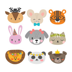 Cute animals with funny accessories. Set of hand drawn smiling characters. Cat, lion, dog, tiger, panda, deer, bunny, mouse and bear. Cartoon zoo