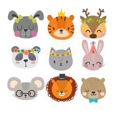 Cute animals with funny accessories. Set of hand drawn smiling characters. Cat, lion, panda, bunny, dog, tiger, deer, mouse and bear. Cartoon zoo