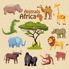 Vector Set Of Cartoon Different Animals Isolated