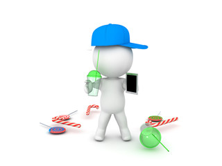 3D illustration depctining teenager with phone and soda in his hands