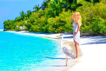 Dreamscape Escape with beauty girl on Maldives