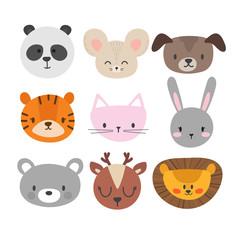 Set of cute hand drawn smiling animals. Cat, bunny, panda, lion, tiger, dog, deer, mouse and bear. Cartoon zoo