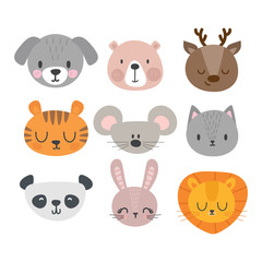 Set of cute hand drawn smiling animals. Cat, deer, panda, tiger, dog, lion, bunny, mouse and bear. Cartoon zoo