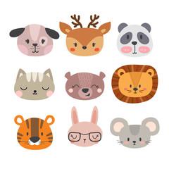 Set of cute hand drawn smiling animals. Cat, lion, panda, dog, tiger, deer, bunny, mouse and bear. Cartoon zoo