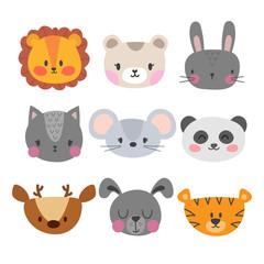 Set of cute hand drawn smiling animals. Cat, lion, panda, tiger, dog, deer, bunny, mouse and bear. Cartoon zoo