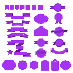purple vector ribbons and lables set isolated on white background