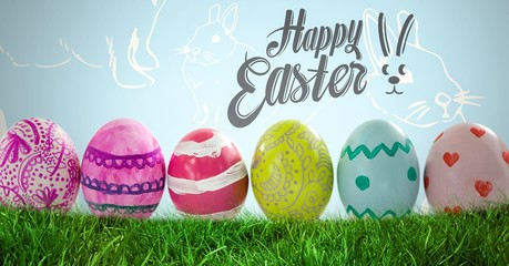 Happy Easter text with Easter Eggs in front of Rabbit pattern