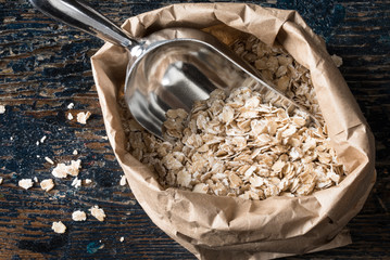 Organic Rolled Oats in a Paper Bag