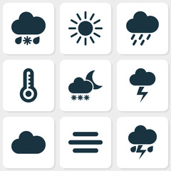 Climate Icons Set. Collection Of Flash, Temperature, Haze And Other Elements. Also Includes Symbols Such As Snow, Weather, Lightning.