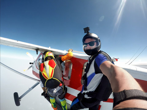 Skydiver self portrait before exit the plane