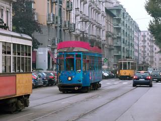 trams in tail in traffic