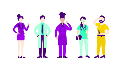 Flat People Professions Collection