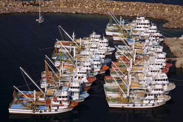 Fishing boats in Babakale harbor, Canakkale Turkey