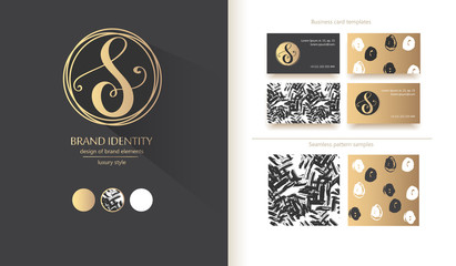 Luxury calligraphic letter S monogram - vector logo template. Sophisticated brand design