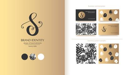 Luxury calligraphic letter S monogram - vector logo template. Sophisticated brand design