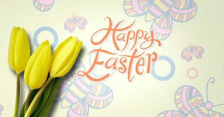 Happy Easter text with Daffodils in front of butterfly pattern