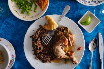 Homemade dinner in Havana, Cuba