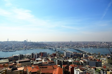 View of the Golden Horn and old areas of Istanbul at sunset, Turkey