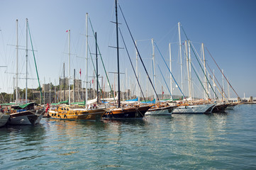 Bodrum harbor with traditional wooden boats and castle Turkey