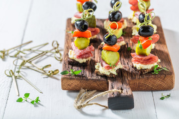Healthy various cold snacks with vegetables and herbs for party