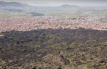 Scenic view of Kula town and volcanic lava Manisa Turkey