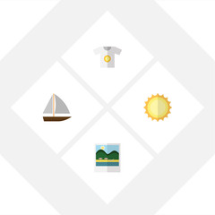 Flat Season Set Of Clothes, Sunshine, Yacht And Other Vector Objects. Also Includes Sun, Clothes, Reminders Elements.