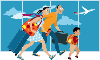 Happy familywith luggage walking through the airport, preparing to board a plane, EPS 8 vector illustration