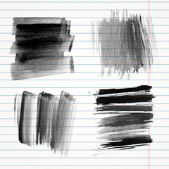 Vector set of hand drawn watercolor brush strokes and stains.