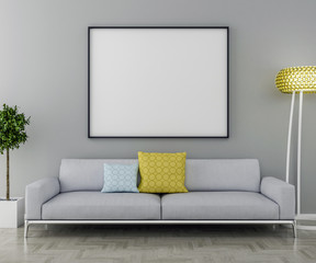 Blank picture frame and sofa with interior plant and lamp