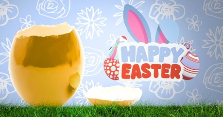 Happy Easter text with Cracked Easter egg in front of pattern