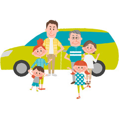 the family to go out by car