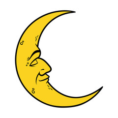 Cartoon Crescent Moon With Face Vector Illustration