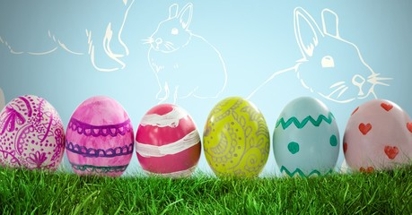 Easter Eggs in front of Rabbit pattern