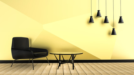 Armchair on empty gold wall background. 3D rendering.