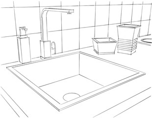 Modern kitchen counter with tap, square sink and kitchenware close up. 3d outline illustration.