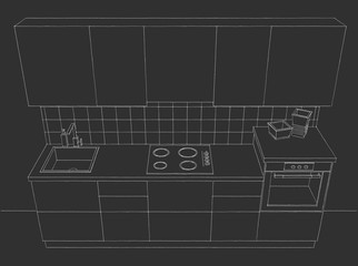 Small kitchen on dark grey background. Top view.