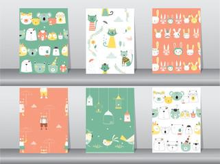 set of seamless patterns with funny cartoon animals,bear,cat,bird,Vector illustrations