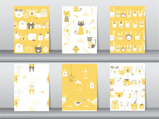 set of seamless patterns with funny cartoon animals,bear,cat,bird,Vector illustrations