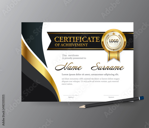Certificate Templatea4 Size Diploma Vector Illustration Stock