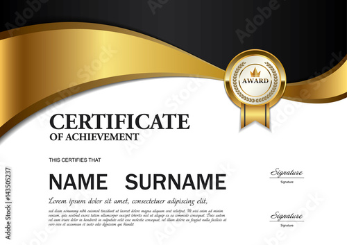 Certificate Template A4 Size Diploma Vector Illustration Stock