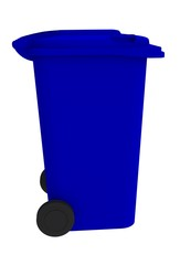 Beside view of blue garbage wheelie bin with a closed lid on a white background, 3D rendering