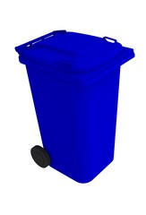 Isometric view of blue garbage wheelie bin with a closed lid on a white background, 3D rendering