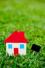 House - Home - blank blackboard on grass background