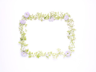 square flame wreath pattern with Globe Amaranth blue cutter and wild flowers with copy space on white background. flat lay. top view