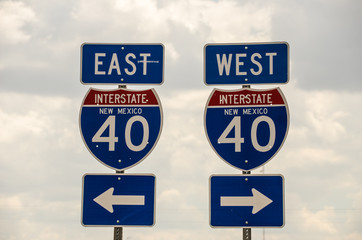 I-40 in New Mexico heading east and west