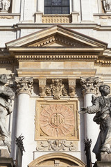Saints Peter and Paul Church, details of facade, Krakow, Poland.