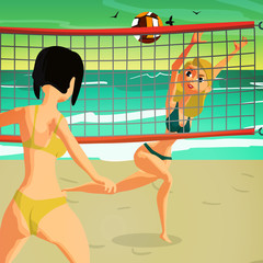 Girls playing volleyball on the beach at sunset. Women in bikinis. Flat cartoon vector illustration.