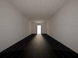 Long corridor with open door