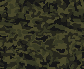 Abstract military or hunting camouflage background. Seamless pattern. Brown, green color.